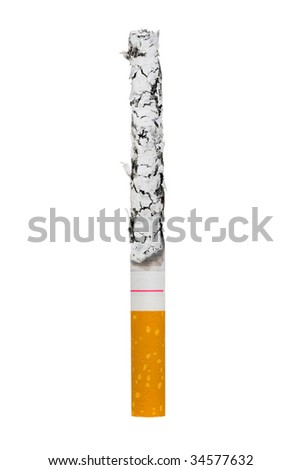 Macro of cigarette isolated on white background
