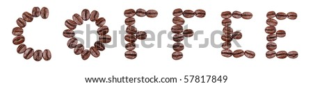 Macro of coffee beans isolated on white