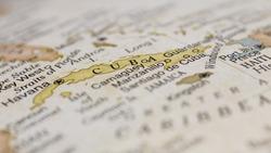 Macro of Cuba on a globe, narrow depth of field