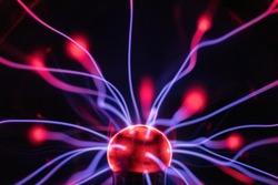 macro of energy from a plasma desktop lamp