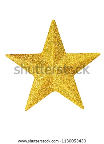 Macro of gold Christmas star isolated on white background #1130053430