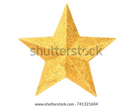 Macro of gold Christmas star isolated on white background #741321604