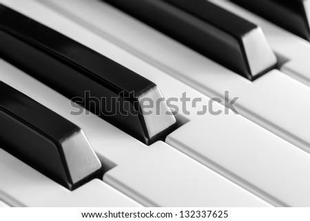 Macro of keys of a music keyboard or piano