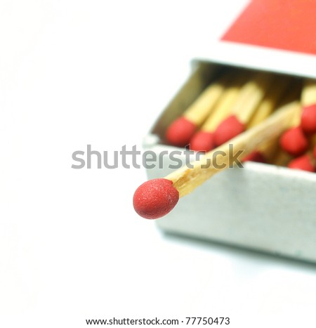 Macro of matches isolated on white background.