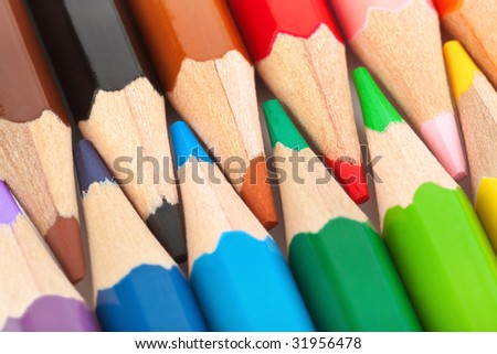Macro of multicolored pencils - abstract art background