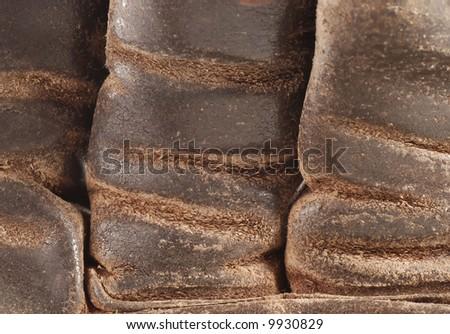 macro of old work glove texture