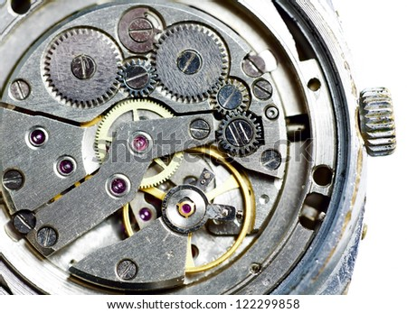 Macro of old worn watches, abstract technology background