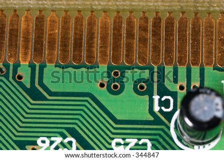 Macro of part of a USB2 card, showing 21st century technology.