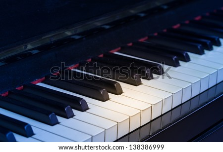 Macro of piano keyboard made of ivory with spot light