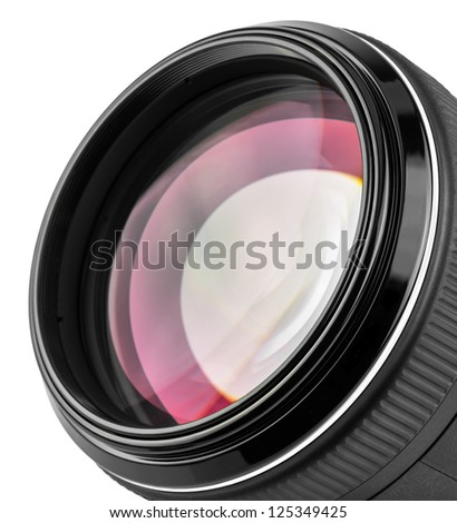 Macro of professional camera lens isolated on white background - stock photo