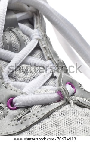 Macro of Shoe Focus on Laces Detail.