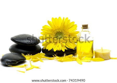 Macro of spring yellow flower with bottle of essential oil with stones
