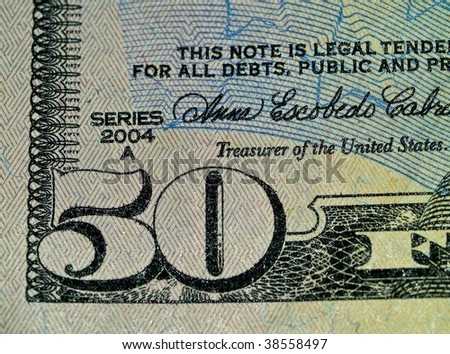Macro of the corner of the US Fifty Dollar Bill