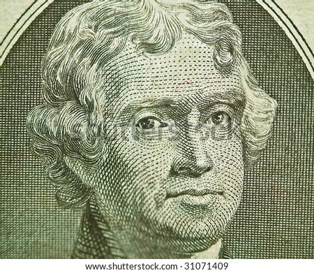 Macro of the U.S. Two Dollar Bill: Thomas Jefferson