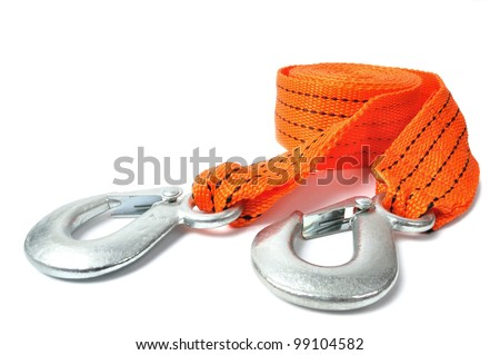 Macro of towing rope isolated on white background