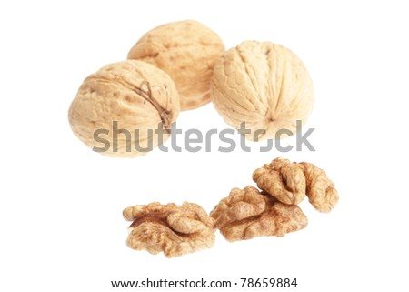 Macro of walnuts isolated on white background