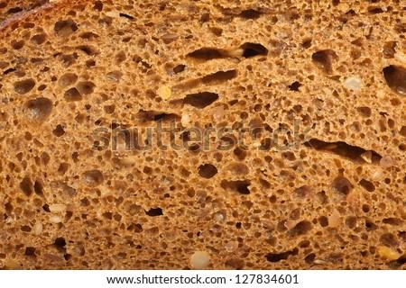 macro of wholemeal bread texture - stock photo