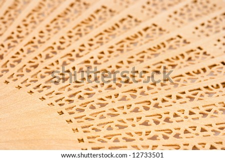 Macro of wood chinese fan, abstract background