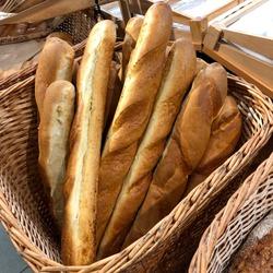 Macro photo bread baguette. Photo bakery bread baguette in market