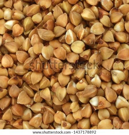 Macro Photo food buckwheat groats. Texture background grain buckwheat groats. Image food product porridge buckwheat Stockfoto ©