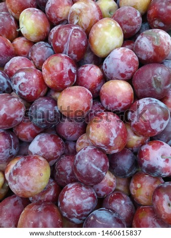 Macro Photo food fruit plums. Texture background of fresh blue plums. Image fruit product blue plums. Limited depth of field. Close-up.