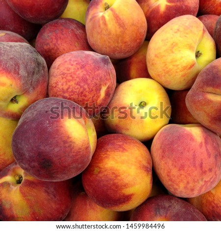 Macro Photo food tropical fruit peach. Texture background of sweet red ripe peaches.Stock photo  food fruit peaches