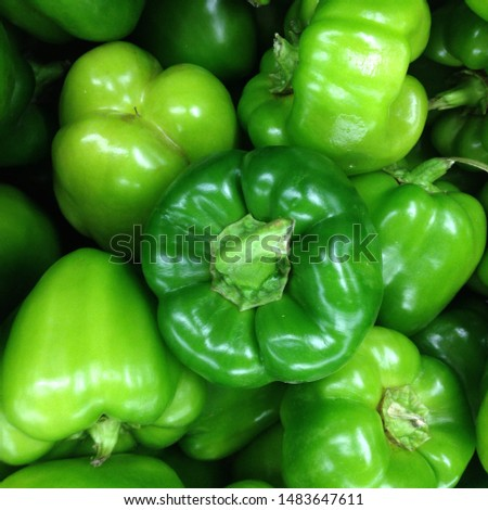 Macro Photo food vegetable green bell peppers. Texture background fresh big green pepper.