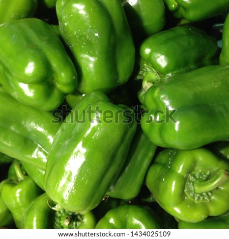 Macro Photo food vegetable green  bell peppers. Texture background fresh big green  pepper color. Product Image Vegetable Pepper