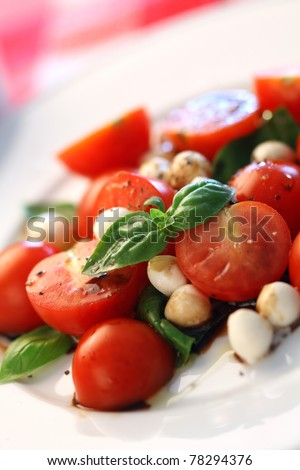 Macro photo of a Caprese salad with tomato, mozzarella, basil, balsamic and olive oil. Very shallow depth of field, focusing on the basil leaves on top.