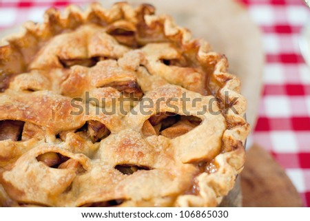 Macro Photo of a Freshly Baked Homemade Apple Pie