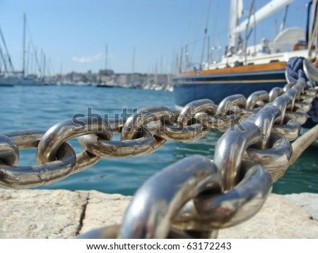 Macro photo of a ship chain