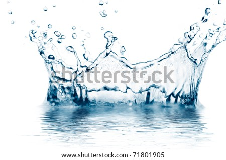 macro photo of a water splash isolated on white