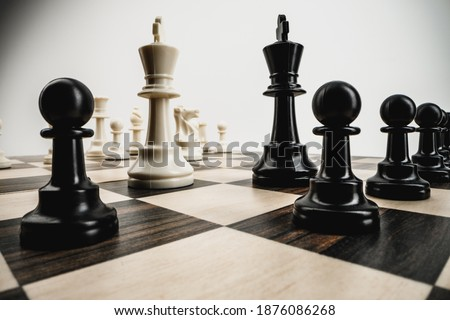 Macro photo of chess pieces on a chess board Photo stock ©