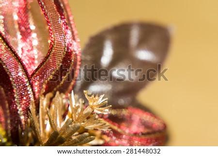 Macro photo of Christmas decorations, colorful holiday background .