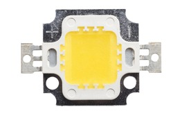 Macro photo of COB (Chip On Board) LED isolated on white. Top view. Concept of saving energy