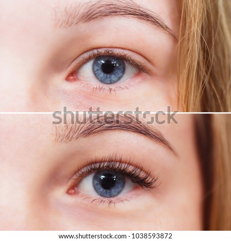 Macro photo of female eye before and after eyelash extension Foto stock ©