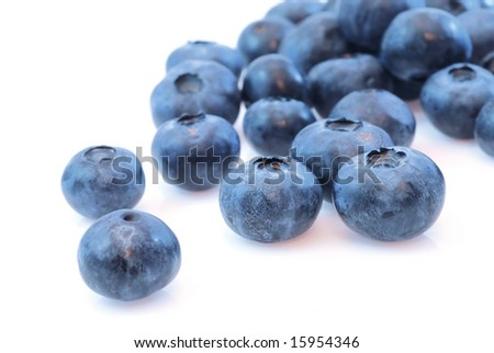 Macro photo of fresh blueberries isolated on white background