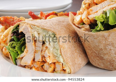 Macro photo of healthy chicken wraps