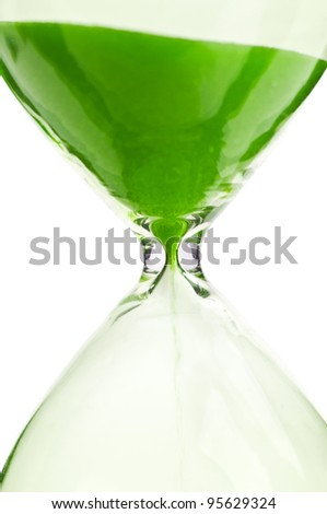 macro photo of hourglass isolated on a white background
