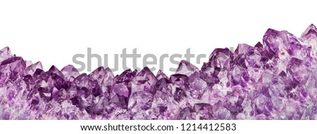 macro photo of lilac amethyst crystals isolated on white background #1214412583
