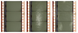 macro photo of 35mm movie filmstrip isolated on white background under different light or flash settings, film material with empty cells for your social media collage. add your photos via blend mode.