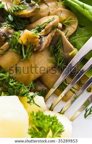 macro photo of mushroom salad and fork teeth