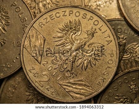 macro photo of polish coins  Zdjęcia stock ©