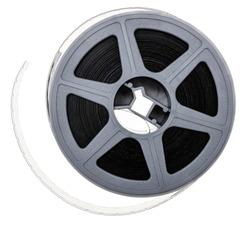 macro photo of real 16mm reel on white background, cine film strip