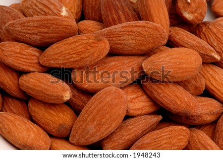 Macro photo of salted almonds