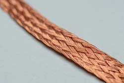 Macro Photo of solder wick or desoldering braid that can be used to remove excess solder from printed circuit boards (PCBs)