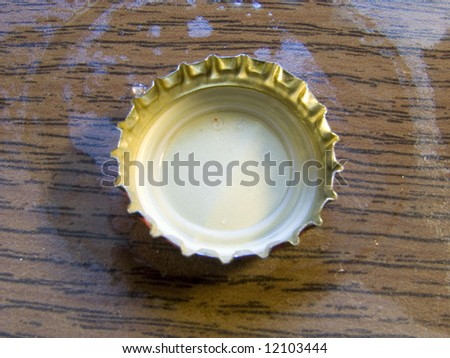 macro photo of the beer cork on wet table