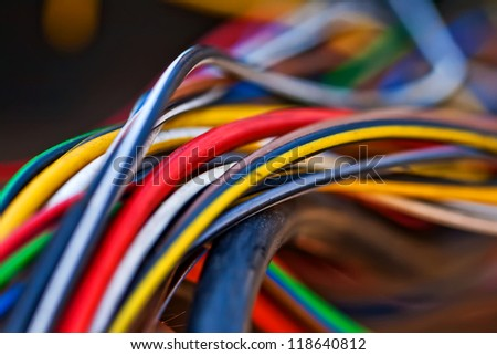 Macro photo of the colorful cable