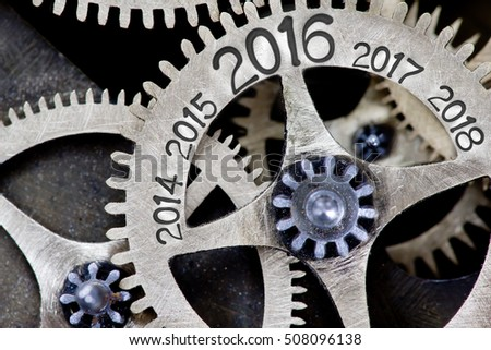 Macro photo of tooth wheel mechanism with arrows and years 2014 through 2016 to 2018