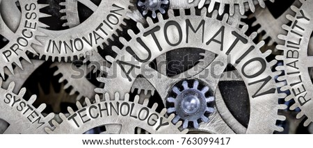 Macro photo of tooth wheel mechanism with AUTOMATION concept related words imprinted on metal surface